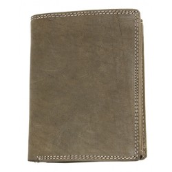 Khaki kožená peněženka na stojato bez značek a nápisů