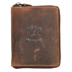 Kožená peněženka Born to be wild se škorpionem dokola na kovový zip