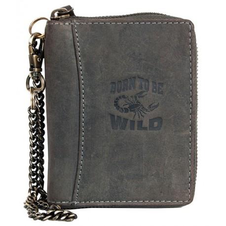 Šedá kožená peněženka Born to be wild se škorpionem dokola na zip s řetězem a karabinkou