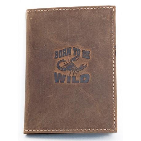 Kožená dokladovka Born to be wild se škorpionem