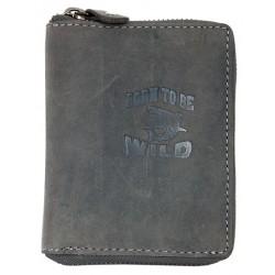 Kožená tmavě šedá peněženka Born to be wild se žralokem celá dokola na kovový zip
