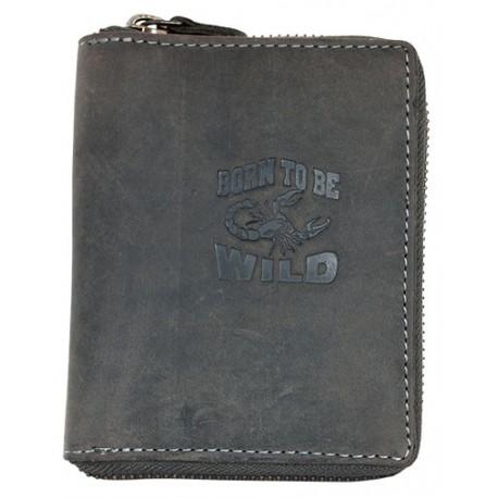 Kožená tmavě šedá peněženka Born to be wild se škorpionem celá dokola na kovový zip