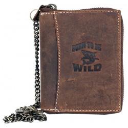 Kožená peněženka Born to be wild se žralokem dokola na kovový zip s řetězem a karabinkou
