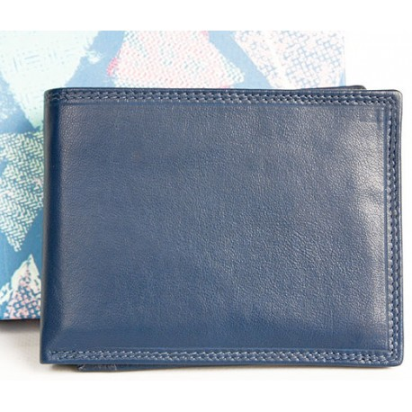 Kvalitní modrá peněženka z měkké kůže bez značek a nápisů