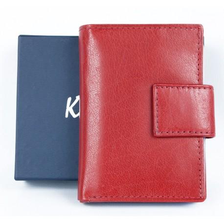 Kožené světle červené pouzdro Kristy.X na 14 platebních a jiných karet a bankovky