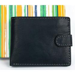 Malá kožená kapesní černá peněženka se sponou