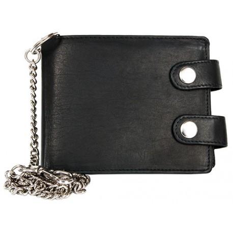 Prostorná kožená peněženka s 50 cm dlouhým řetězem a karabinkou