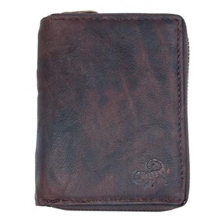 Pánská peněženka se škorpionem z přírodní olejované kůže dokola na kovový zip