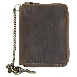 Kožená peněženka dokola na kovový zip s 30 cm dlouhým kovovým řetězem a karabinkou