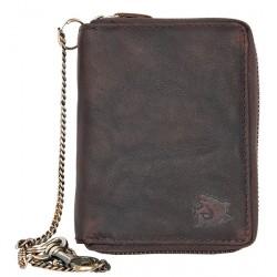 Peněženka z přírodní olejované kůže dokola na kovový zip se žralokem, s řetězem a karabinkou