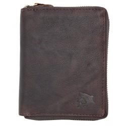 Pánská peněženka se žralokem z přírodní olejované kůže dokola na kovový zip