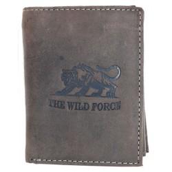 Kožená šedohnědá peněženka The wild force s tygrem z pevné hovězí kůže