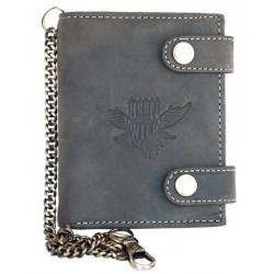 Kožená peněženka Born to be wild se dvěma přezkami s křídlem s 30 cm dlouhým kovovým řetězem a karabinkou