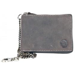 Šedá kožená peněženka Born to be Wild dokola na zip, s řetězem a karabinkou