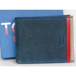 Tmavě modrá kožená peněženka Tommy Barbados s červenými prvky