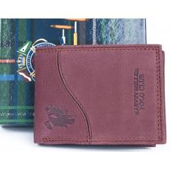 Malá červenohnědá kožená kapesní hnědá peněženka