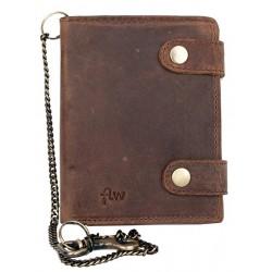 Celá kožená peněženka se dvěma upínkami a 35 cm dlouhým kovovým řetězem a karabinkou
