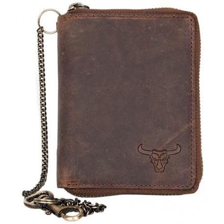 Celá kožená peněženka s býčí hlavou dokola na kovový zip s 30 cm dlouhým kovovým řetězem a karabinkou