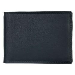 Kožená peněženka - dolarka o velikosti normální peněženky z měkké černé kůže s místem na větší doklady