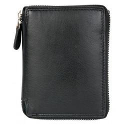 Kožená peněženka pánská kvalitní dokola na zip s ochranou dat bez kapsičky na mince