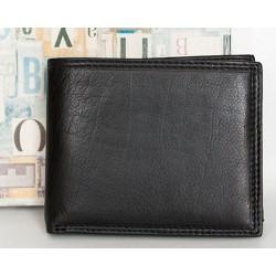 Kvalitní černá kožená peněženka z měkké příjemné kůže tak akorát velká