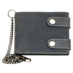 Kožená šedá peněženka se dvěma upínkami a 35 cm dlouhým kovovým řetězem a karabinkou