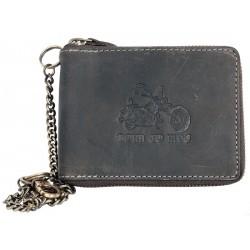 Šedá kožená peněženka Born to ride dokola na zip, s řetězem a karabinkou