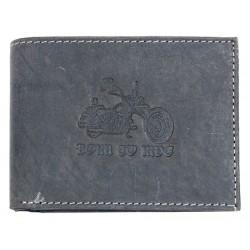 Šedá kožená peněženka Born to ride s motorkou