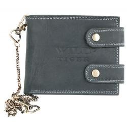 Velmi tmavě šedá, téměř černá peněženka Wild Tiger s 50 cm dlouhým řetízkem a karabinkou