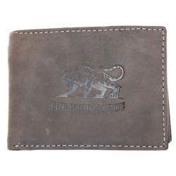 Kožená šedá peněženka z pevné hovězí kůže s tygrem