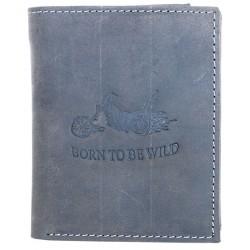 Šedá kožená peněženka Born to be wild s motorkou