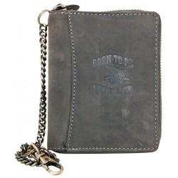 Šedá kožená peněženka Born to be wild se žralokem dokola na zip s řetězem a karabinkou
