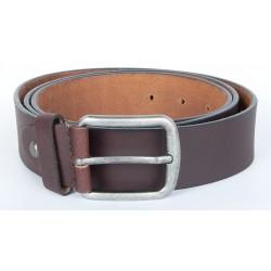 Hnědý kvalitní pevný kožený opasek 40 mm široký, 120 cm dlouhý