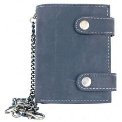 Kožená tmavě šedá peněženka se dvěma upínkami a 30 cm dlouhým kovovým řetězem a karabinkou