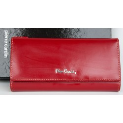 Červená kožená polomatně fóliovaná odolná peněženka Pierre Cardin