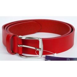 Červený italský kožený opasek. Šířka 35 mm, délka 110 cm