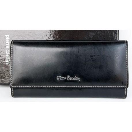 Černá kožená polomatně fóliovaná odolná peněženka Pierre Cardin