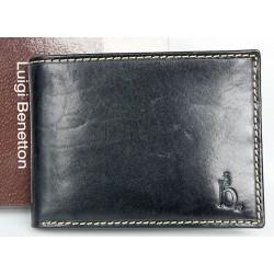 Kožená peněženka Luigi Benetton z pevné leskle černé kůže
