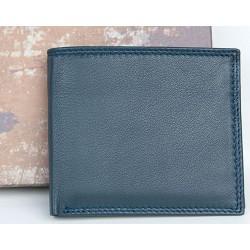 Malá šedomodrá kožená kapesní peněženka