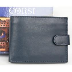Šedomodrá peněženka Corsi z příjemné kůže bez značek a nápisů