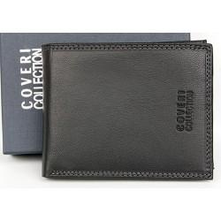 Kvalitní černá kožená peněženka Coveri z příjemné měkké kůže