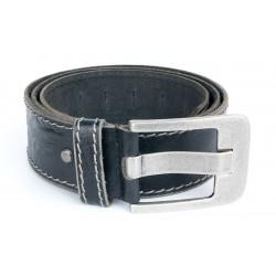 Pánský černý silný kožený 50 mm široký opasek, délka 125 cm