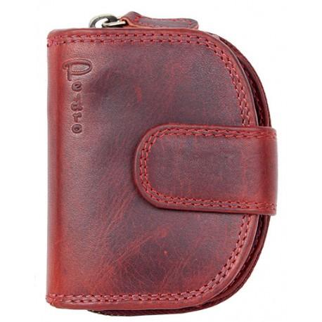 Malá červená celokožená peněženka
