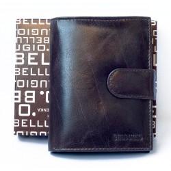 Pánská peněženka Bellugio z lesklé hnědé kůže se sponou