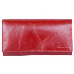 Červená hnědá peněženka z pevné kůže dodávaná v krabičce