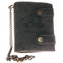 Kožená tmavě šedá peněženka Born to be wild s motorkou, se dvěma upínkami a 30 cm dlouhým kovovým řetězem a karabinkou