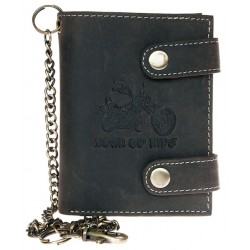 Kožená tmavě šedá peněženka Born to ride s motorkou, se dvěma upínkami a 30 cm dlouhým kovovým řetězem a karabinkou