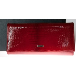 Červená kožená fóliovaná odolná peněženka Ellini