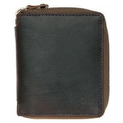 Pánská malá kapesní kožená olejovaná peněženka na kovový zip