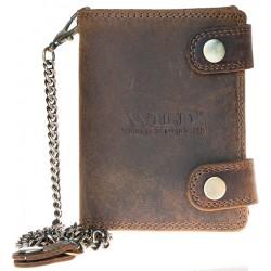 Kožená peněženka Wild s 45 cm dlouhým kovovým řetězem a karabinkou